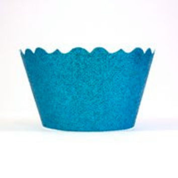 Glitter Ocean Blue Cupcake Wrappers- Includes 12 cupcake holders