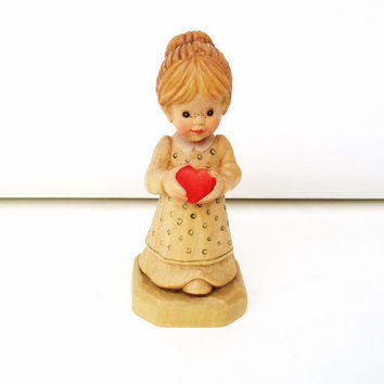 Vintage Anri Italy Carved Wood Figure Sarah Kay Wooden Sculpture Little Girl Figurine Red Heart