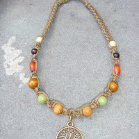 Tree of Life  Hemp Necklace  Choker   hippie   handmade macrame jewelry