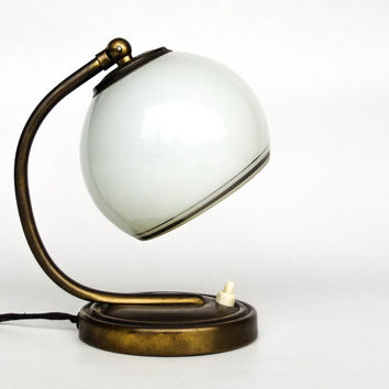 Vintage Table / Desk  / Bedside Lamp / Art Deco Era Lighting /  Brass