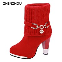 Free shipping women's boots 2017 new winter warm high heel boots half boots Coarse heel shoes
