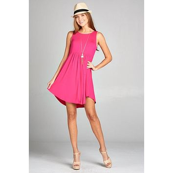 Simple Spring Tank Style Dress - Hot Pink