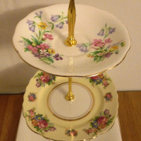 Pretty 3 Tier Vintage Cake Stand For Afternoon Tea, Parties Or Weddings