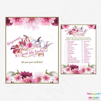 Fall Floral Baby Shower Games, How Sweet it Is, Girl Pumpkin Baby Shower, Watercolor Baby Shower, Pink and Purple Baby Shower, Flowers PPMK