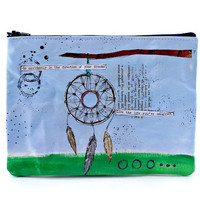 Dream Catcher Mixed Media Art ZIPPER POUCH - Feather Collage Art, Handpainted Dreamcatcher Make Up Bag Boho, Pencil Case, Bohemian Art m187
