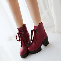 Round Toe Zipper Lace Up High Heels Motorcycle Boots 9325