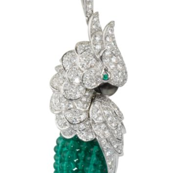 Les Oiseaux Libérés necklace: Les Oiseaux Libérés necklace - 18K white gold, emerald beads, 742 brilliant-cut diamonds totaling 13.28 carats