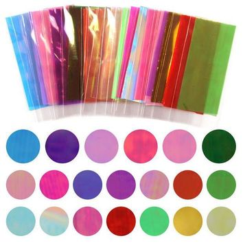 ESBON5U Hot Sale 20 Different Colors Broken Glass Pieces Mirror Foil Tips Stencil Decal Nail Art Sticker Cute Manicure Tools For DIY