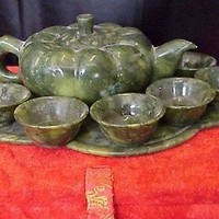 Small Chinese Jade Teapot and 6 Jade Cups set