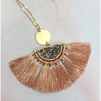 Stand Out Tassel Necklace: Rose