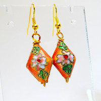 Cloisonne drop earrings, delicate flowers on a russet/peach background. dangle earrings
