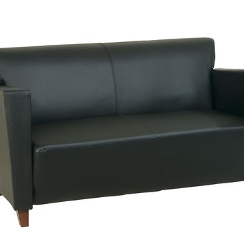 OSP Furniture® Black Bonded Leather Love Seat With Cherry Finish. Shipped Assembled With Legs.