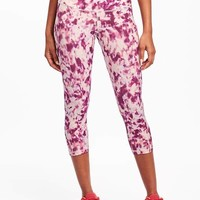 Go-Dry High-Rise Printed Compression Crops for Women   Old Navy