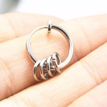 ac PEAPO2Q 10pcs Clip On Fake Nose Septum Hoop Rings Earrings Ear Stud Helix Rings No Hole Non Piercing Body Jewelry Free shipment