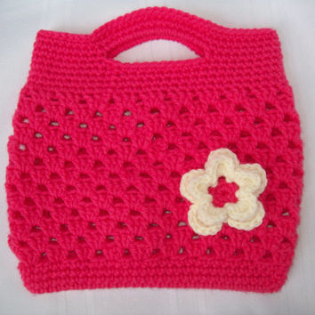 Purse, Crochet Pink Boutique Purse, Crochet Purse, Girls Pink Purse, Accessories