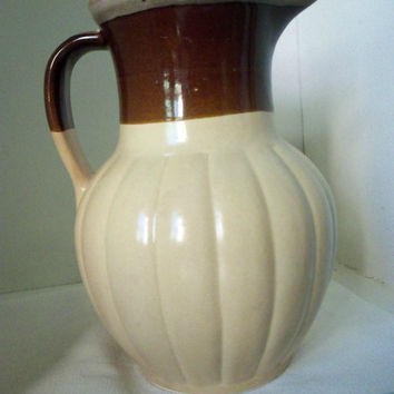 Brown Stoneware Pitcher or Vase ~ Country Rustic Farmhouse Decor