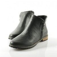 Black Ankle Boots with Side Zip Closure