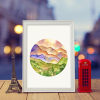 Landscape scenery | Watercolor & ink Illustration | Art print & Posters | Koma Art