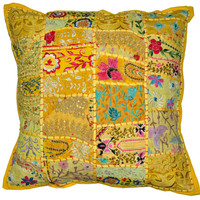"""24"""" XL Yellow Tribal accent throw pillow, Patchwork Handmade Indian Ethnic cottage Pillow, floor pillow for outdoors decorative throw pillow"""
