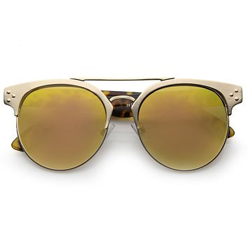 Retro Modern Horned Rim Mirror Lens Sunglasses A496
