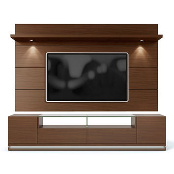 Nut Brown Vanderbilt TV Stand & Cabrini 2.2 LED Wall TV Panel