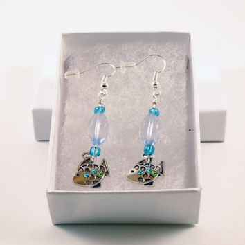Blue Fish Dangle Earrings