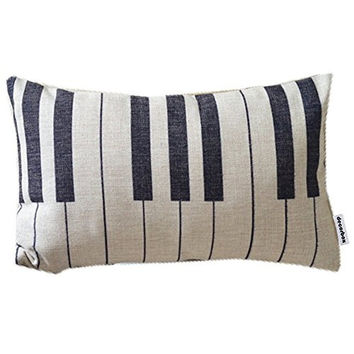 Piano Keyboard Simple Music Throw Pillow Case Decor Cushion Covers Oblong 20*12 Inch Beige Cotton Blend Linen