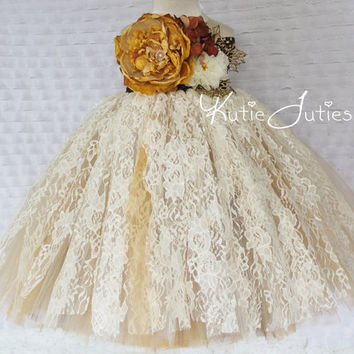 READY TO SHIP- Vintage Fall Lace Ivory, Brown, Gold, Lace Tutu Dress- Flower Girl, wedding, Pageant dress, Birthday, toddler, baby girl