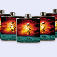 Personalized Custom Wedding Party Flask, unique astronaut flask design