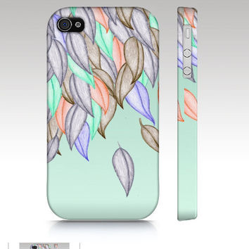 Iphone 5 case, iPhone 4s case, iPhone4 case, hipster, illustration, nature colorful, crayon art, mint peach grey