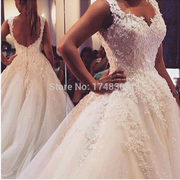 New Arrival Pearls Lace Wedding Dresses 2016 Backless Beaded Ball Gowns Bridal Gown Sexy Applique Luxury Bridal Gown Plus Size