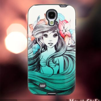 MC1111Y,16,Ariel Little Mermaid,Colorful,Color -Accessories case cellphone-Design for Samsung Galaxy S5 - Black case - Material Soft Rubber