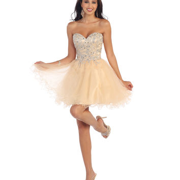 Champagne Short Strapless Beaded Sweetheart Dress 2015 Homecoming Dresses