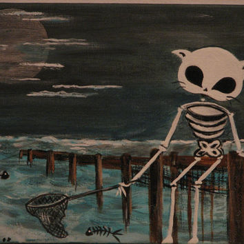 Dead catch.  Print from an original painting by Dona Silver.  Cat art. Day of the dead art. Fish bone art.  Home decor. Wall decor