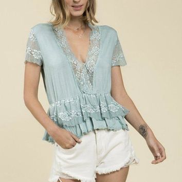 Mint Green Ruffle & Lace Top/Blouse