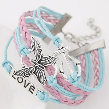 Retro Anchor / Butterfly / Love Multilayer Woven Wrap Charm Bracelet For Men and Women Wonderful Christmas Gift