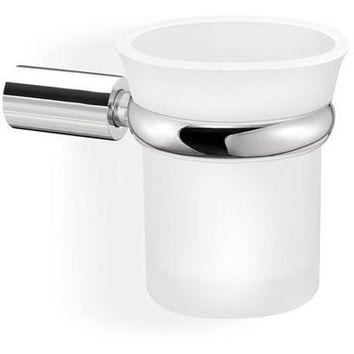 SCBA Spok Wall Frosted Glass Toothbrush Toothpaste Holder Bath Tumbler - Brass