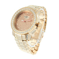Mens Rose Gold Tone Stainless Steel Watch Lab Diamond