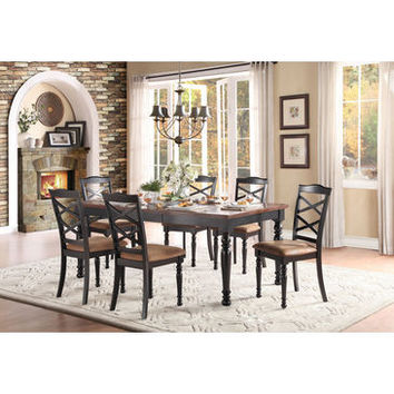 """Homelegance Isleton Dining Table With 18"""" Leaf In Black And Cherry"""
