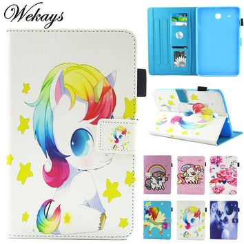 "Wekays For Samsung Tab E T560 Cute Cartoon Unicorn Leather Fundas Case For Samsung Galaxy Tab E 9.6"" T560 T561 Tablet Cover Case"