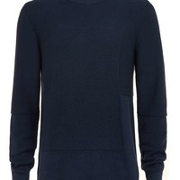 Navy Colour Block Crew Neck Sweater - Sale