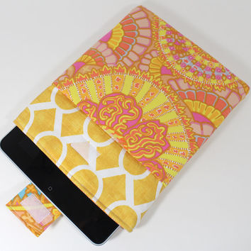 Ipad cover Tablet cover Tablet Sleeve designed with Premier Prints Sydney Slub Corn Yellow  and Kaffe Fassett  Belle Epoch Yellow