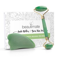Jade Roller for Face & Gua Sha Scraping Massage Tool Anti Wrinkle Anti Aging Tool