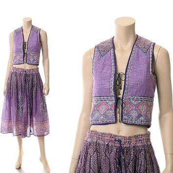 Vintage 60s 70s Indian Sheer Gauze Skirt & Vest 1960s 1970s Lavender India Cotton Metallic Boho Hippie Gypsy Festival  2 pc Dress Outfit / S