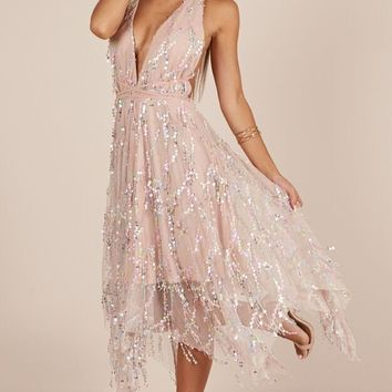 Join The Party dress in nude sequin Produced By SHOWPO