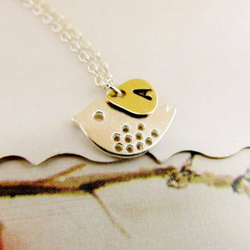 Sterling Silver Bird Necklace Personalized Initial Necklace Hand Stamped Jewelry Bird Sterling silver