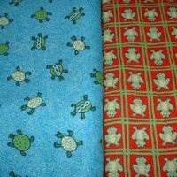 Frog Fabric, Turtle Fabric, All Cotton, Great for Quilters