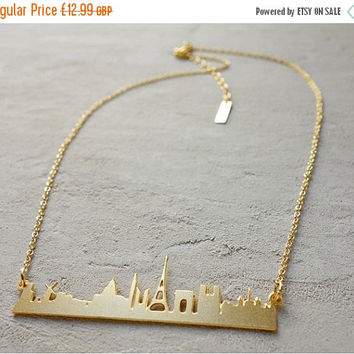 ON SALE Paris Necklace, Paris Skyline Necklace, Cityscape Necklace, Eiffel Tower Necklace, Boho Necklace, Charm Necklace