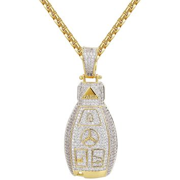 14k Gold Finish Luxury Car Logo Key Silver Pendant Chain