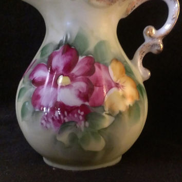 Small Floral  Hand Painted Pitcher Vase (162)